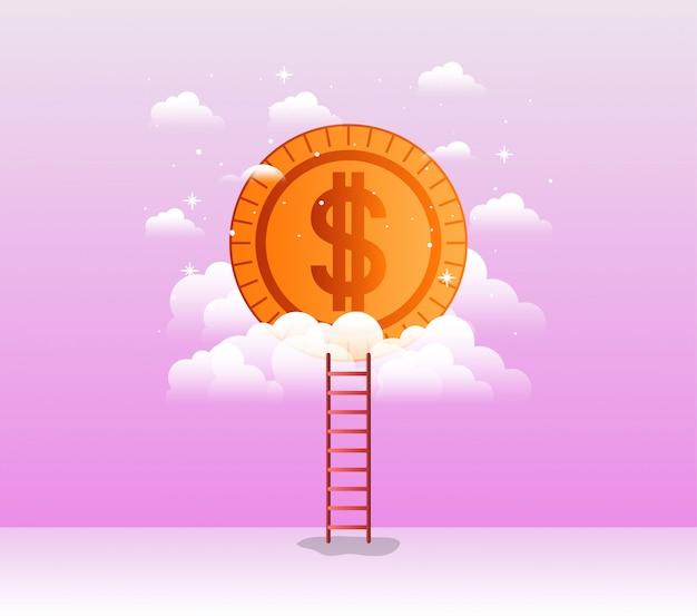 Moeda dinheiro com escada