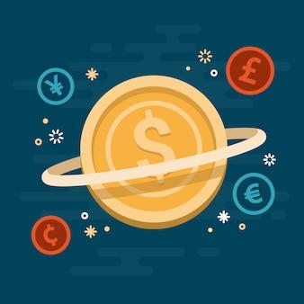 Moeda dinheiro sistema idéia conceito ilustração vetorial