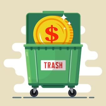 Moeda dólar no recipiente de lixo