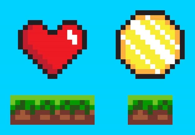 Moeda e coração no chão, ícones de jogos de pixel