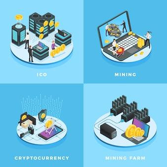 Moeda eletrônica, mineração de moeda, ico e rede de computadores blockchain isométrica