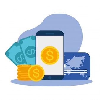 Moeda em contas de smartphone e cartão de crédito