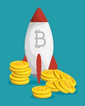 Moeda financeira digital bitcoin com foguete