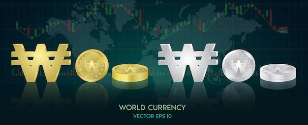 Moeda global. bolsa de valores. ilustração das ações.