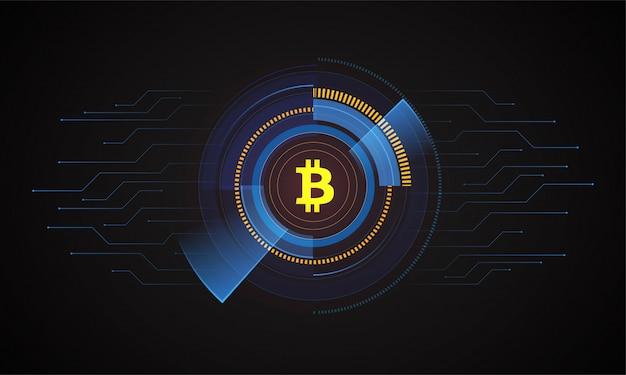 Moeda inicial ico que oferece fundo hud com bitcoin dourado.