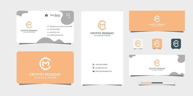 Moeda logo design design de cartão de visita cm