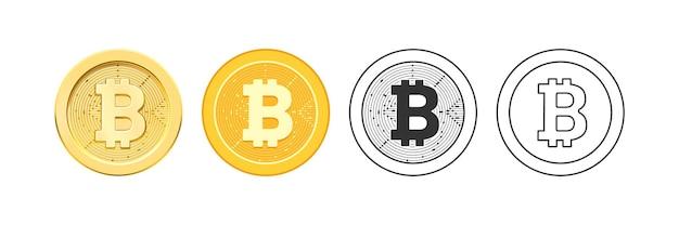 Moeda virtual descentralizada para pagamentos e transações ícones bitcoin isolados em planos realistas