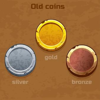 Moedas antigas de ouro, prata e bronze