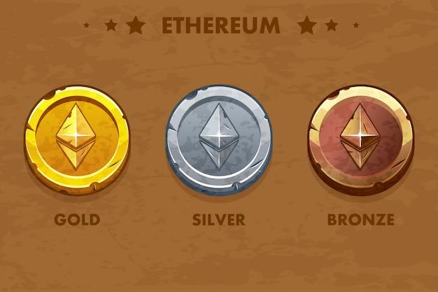 Moedas antigas isoladas de ouro, prata e bronze ethereum. criptomoeda digital ou virtual. moeda e dinheiro eletrônico