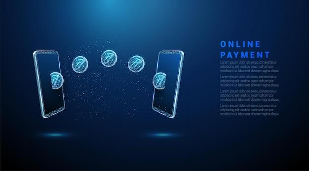 Moedas azuis abstratas voando de um telefone para outro ilustração em vetor wireframe de baixo poli de pagamento