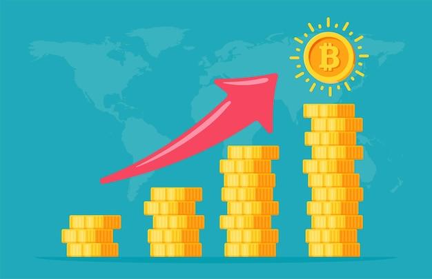 Moedas bitcoin empilhadas em camadas. o crescimento do valor da criptomoeda