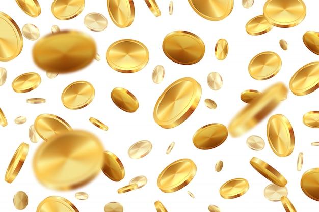 Moedas caindo. dinheiro dourado 3d jackpot dinheiro chuva realista casino sorte conceito de vitória. ilustração da moeda isolada