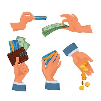 Moedas, cartões bancários e dólares em mãos. conjunto de imagens de dinheiro
