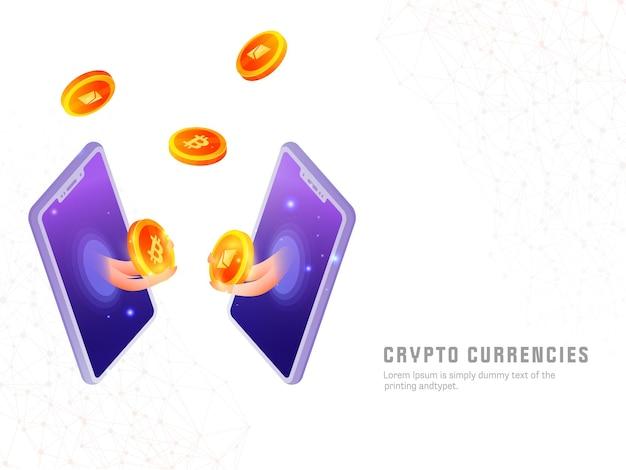 Moedas criptográficas com base em design de cartaz com trocas de moedas criptográficas de ouro 3d através de smartphone em fundo branco de rede digital.