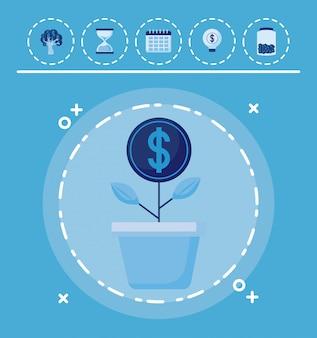 Moedas da planta com conjunto de ícones finanças da economia