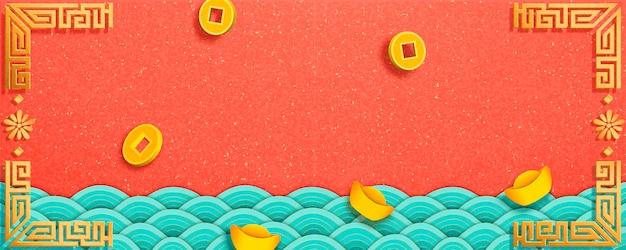 Moedas da sorte e lingote de ouro caindo do céu, marés onduladas em fundo laranja