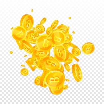 Moedas de baht tailandês caindo. moedas thb elegantes e espalhadas. dinheiro da tailândia. excelente conceito de jackpot, riqueza ou sucesso. ilustração vetorial.