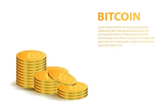 Moedas de bitcoin dourado realistas para decoração de banner em fundo branco. conceito de moeda digital, mineração e dinheiro.