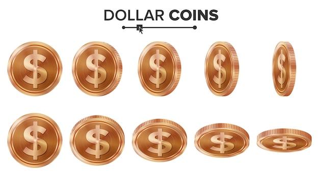 Moedas de cobre do dólar 3d