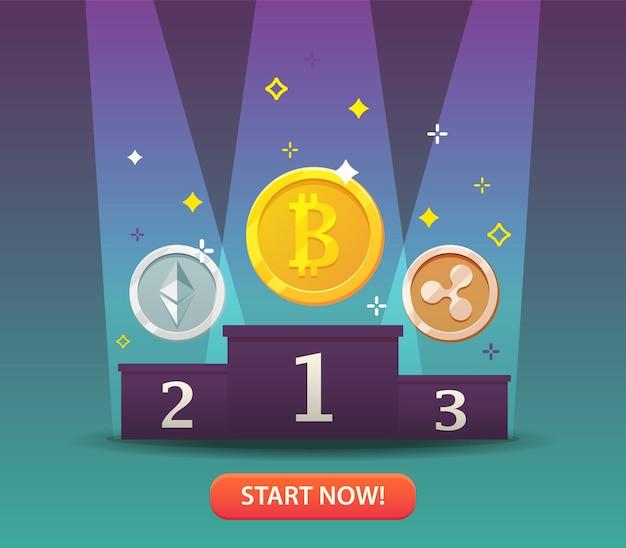 Moedas de criptomoeda. bitcoins e conceito de dinheiro virtual para tecnologia de criptomoeda. mercado de criptomoedas, empresa de hospedagem, banco móvel.