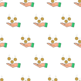 Moedas de dinheiro caindo para mão padrão sem emenda em um fundo branco. ilustração em vetor de tema de negócios