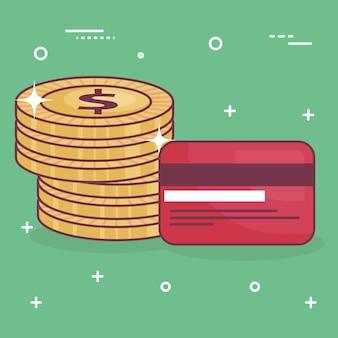Moedas de dinheiro com cartão de crédito