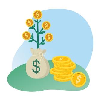 Moedas de dinheiro de árvore e saco de dinheiro