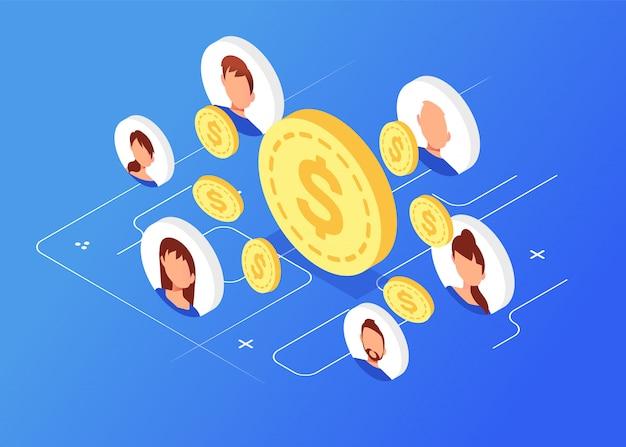 Moedas de dinheiro isométrica com avatares, marketing de rede