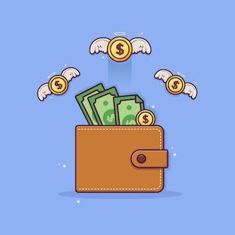 Moedas de dinheiro voando da carteira conceito moedas de ouro ícone do vetor design