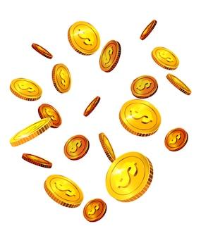 Moedas de dólar caindo. sucesso, sorte, dinheiro. conceito de investimento.