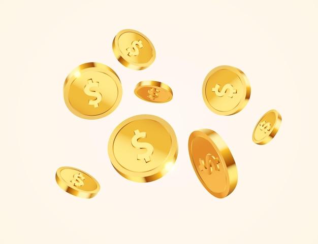 Moedas de dólar de ouro voadoras realistas