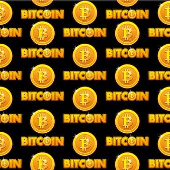 Moedas de fundo dourado logo bitcoin ilustração padrão sem emenda isoladas com sinal de bitcoin. criptomoeda eletrônica