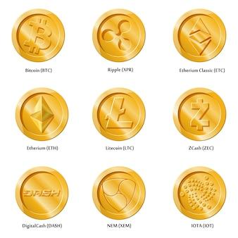 Moedas de ícones de moeda criptografia