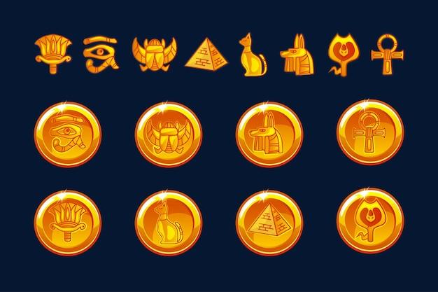 Moedas de ícones do egito e elementos de design isolados. coleção de ícones do antigo egito - pirâmide, escaravelho, gato, esfinge, olho, lobo, faraó, ornamento. objetos em uma camada separada.