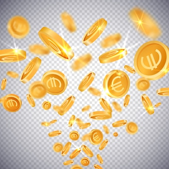 Moedas de ouro 3d dólar e euro