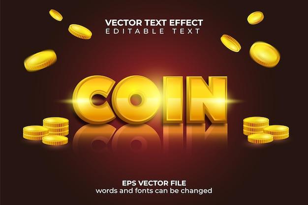 Moedas de ouro caem com efeito de texto editável