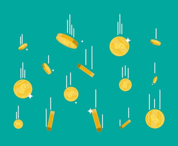Moedas de ouro caindo. chuva de dinheiro.