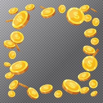 Moedas de ouro caindo em fundo transparente
