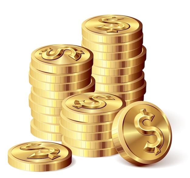Moedas de ouro com cifrão