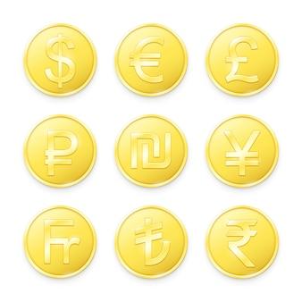 Moedas de ouro com símbolos das principais moedas do mundo