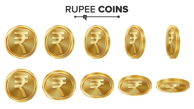 Moedas de ouro da rupia 3d