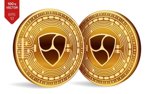 Moedas de ouro de criptomoeda com nem símbolo isolado no fundo branco.