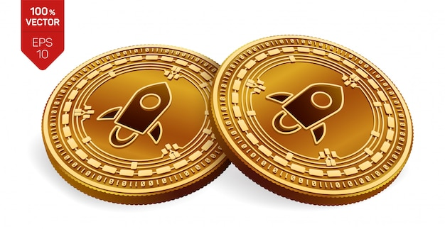 Moedas de ouro de criptomoeda com símbolo estelar isolado no fundo branco.