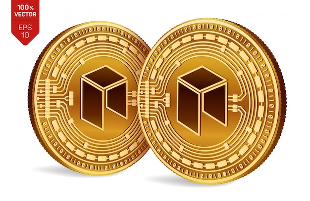 Moedas de ouro de criptomoeda com símbolo neo isolado no fundo branco.
