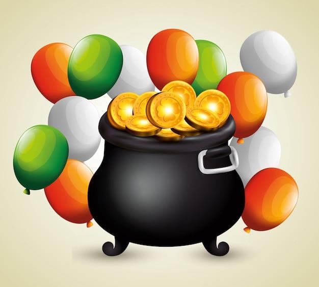 Moedas de ouro dentro de caldeirão e balões para o dia de são patrício
