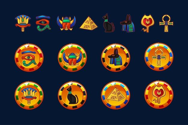 Moedas de ouro do egito e ícones definidos