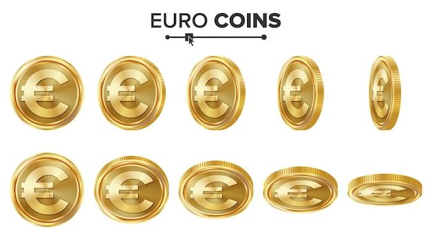 Moedas de ouro do euro 3d