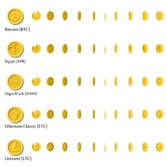 Moedas de ouro dos desenhos animados planos com o símbolo da moeda criptográfica, um conjunto de ícones em ângulos diferentes para animação. ilustração moderna.