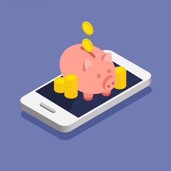 Moedas de ouro e cofrinho em estilo moderno isométrico. pilha ou pilha de dinheiro em um smartphone. depósito online no seu telefone.
