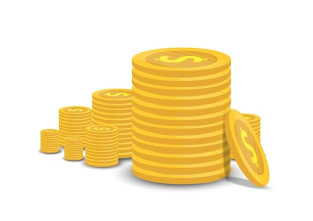 Moedas de ouro e negócios finanças isolar